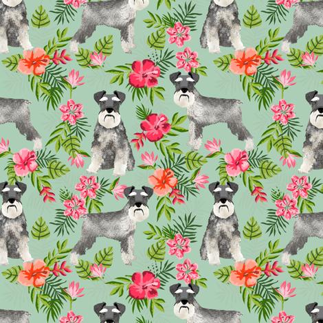 schnauzer fabric hawaiian summer tropical monstera leaves - mint fabric by petfriendly on Spoonflower - custom fabric