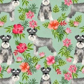 schnauzer fabric hawaiian summer tropical monstera leaves - mint