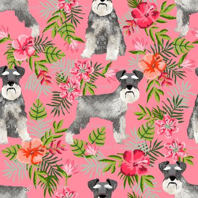 schnauzer fabric hawaiian summer tropical monstera leaves - pink