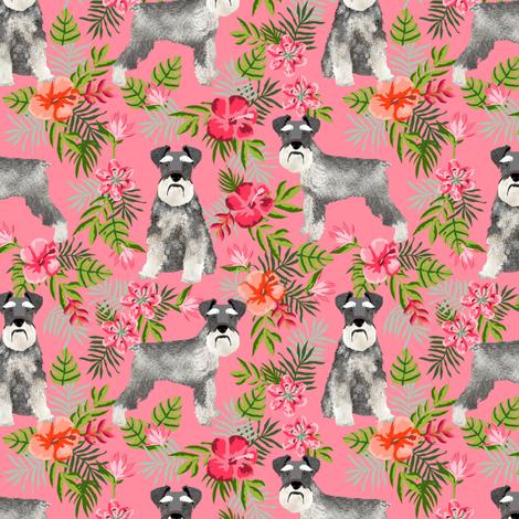 schnauzer fabric hawaiian summer tropical monstera leaves - pink fabric by petfriendly on Spoonflower - custom fabric