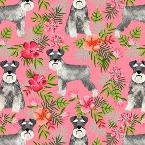 schnauzer fabric hawaiian summer tropical monstera leaves - pink