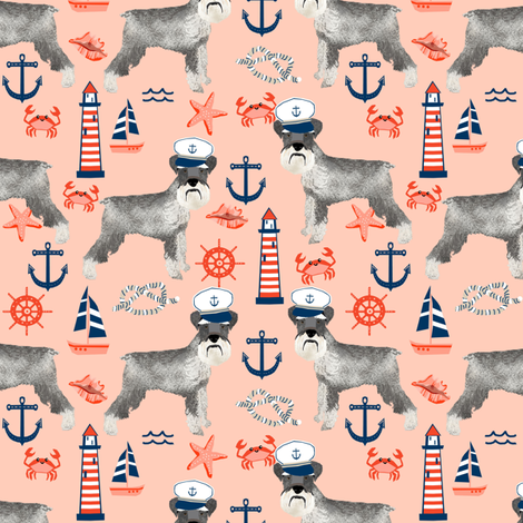 schnauzer fabric nautical summer lighthouse ocean summer design - peach fabric by petfriendly on Spoonflower - custom fabric