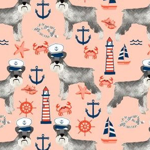 schnauzer fabric nautical summer lighthouse ocean summer design - peach