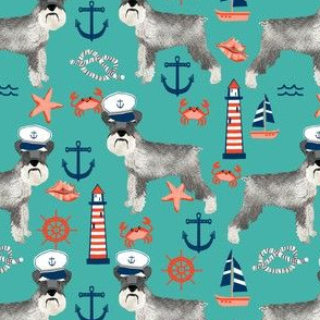 schnauzer fabric nautical summer lighthouse ocean summer design - turquoise