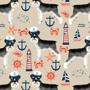 schnauzer fabric nautical summer lighthouse ocean summer design - sand