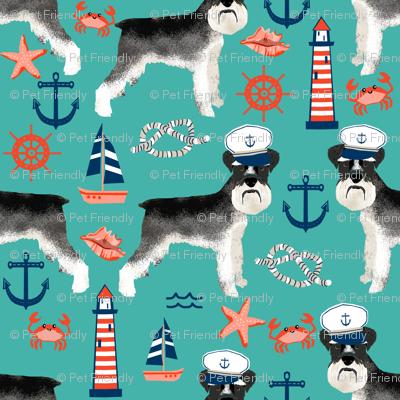 schnauzer fabric nautical summer lighthouse ocean summer design - turquoise