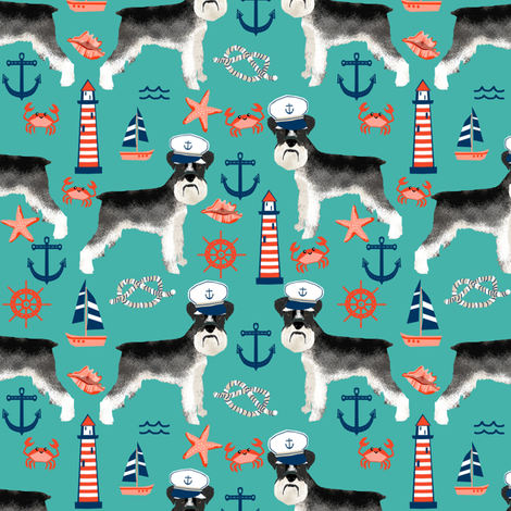 schnauzer fabric nautical summer lighthouse ocean summer design - turquoise fabric by petfriendly on Spoonflower - custom fabric