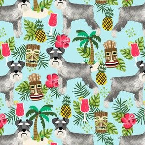 schnauzer tiki fabric summer tropical palms fabric - light blue
