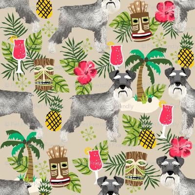 schnauzer tiki fabric summer tropical palms fabric - sand