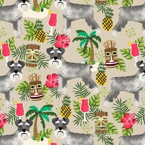 schnauzer tiki fabric summer tropical palms fabric - sand