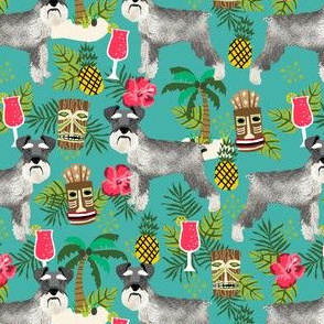 schnauzer tiki fabric summer tropical palms fabric - turquoise