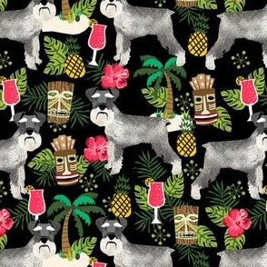 schnauzer tiki fabric summer tropical palms fabric - black