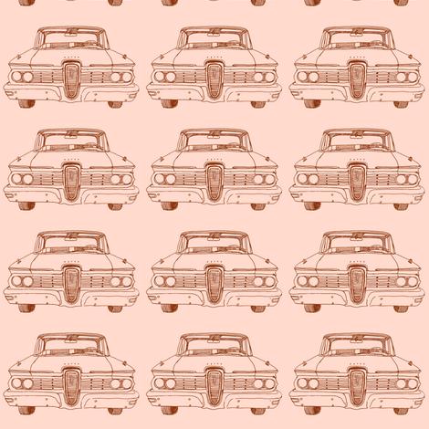 1959 Edsel Ranger or Corsair brown on peach fabric by edsel2084 on Spoonflower - custom fabric