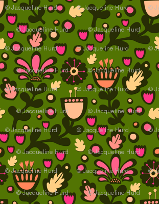 Folky Floral on Green