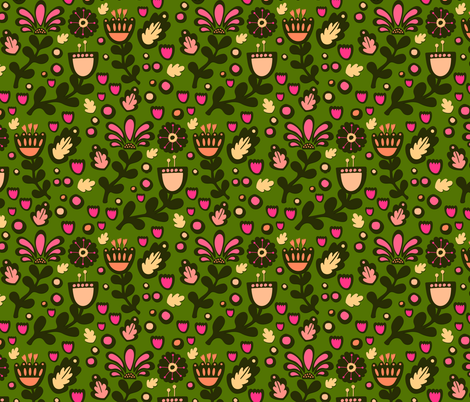 Folky Floral on Green fabric by jacquelinehurd on Spoonflower - custom fabric