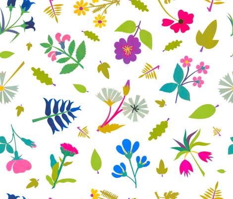 Vintage Paper Cut Flowers fabric by elliottdesignfactory on Spoonflower - custom fabric