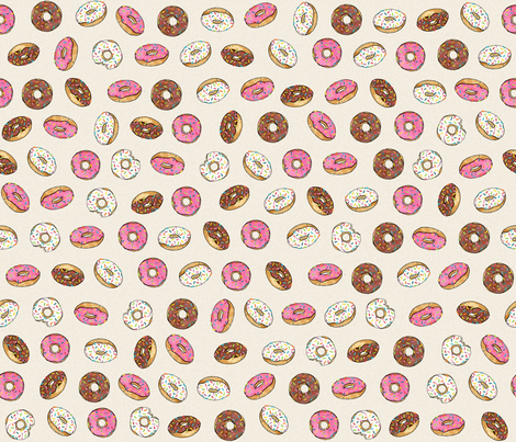 ALL the donuts! on Cream fabric by joanandrose on Spoonflower - custom fabric
