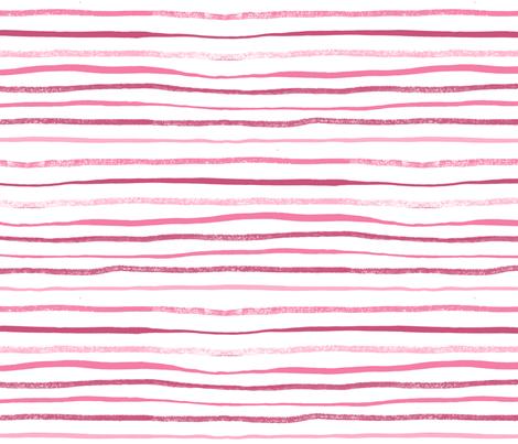 Horizontal Illusion Raspberry Brush Stroke Watercolor Stripes on White fabric by nicoledobbins on Spoonflower - custom fabric