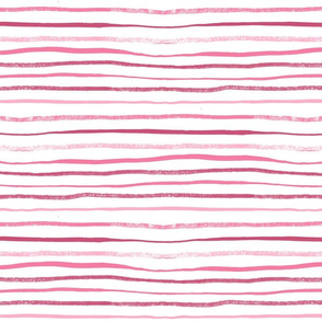 Horizontal Illusion Raspberry Brush Stroke Watercolor Stripes on White