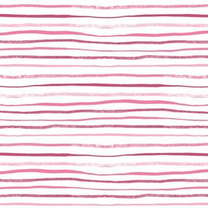 Horizontal Illusion Raspberry Brush Stroke Watercolor Stripes on White