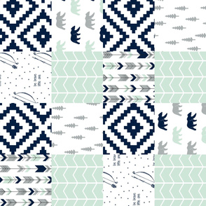 northern lights wholecloth(90)  - aztec with bears