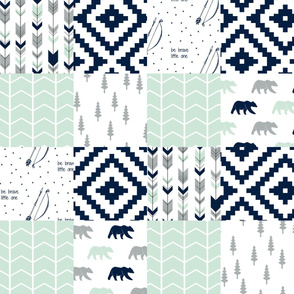 northern lights wholecloth - aztec with bears