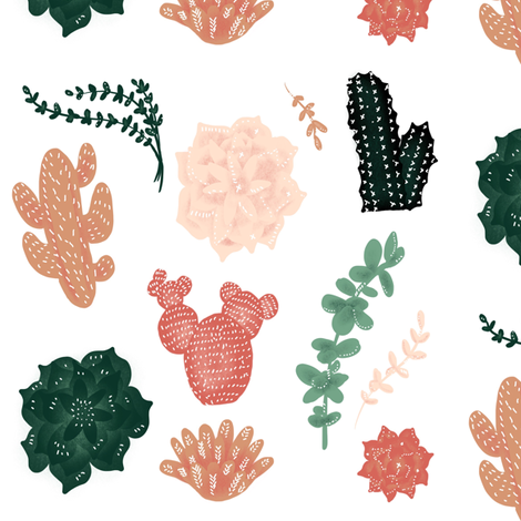 Darling Succulents - Smaller size fabric by taraput on Spoonflower - custom fabric
