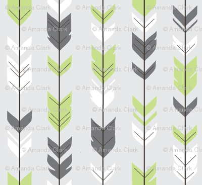 Arrow Feathers - Apple Green and Grey on Silver