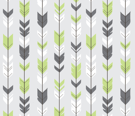 Arrow Feathers - Apple Green and Grey on Silver fabric by sugarpinedesign on Spoonflower - custom fabric