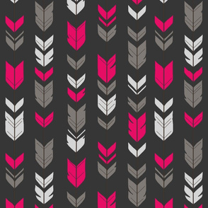 Arrow Feathers- fuchsia, gray on charcoal