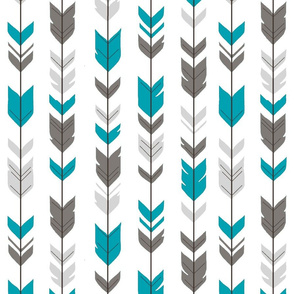 Arrow Feathers- teal, gray on white