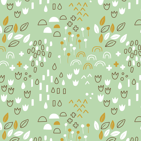 Scandi Garden Green fabric by zoyu on Spoonflower - custom fabric