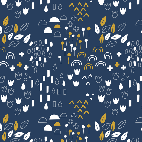 Scandi Garden Navy fabric by zoyu on Spoonflower - custom fabric