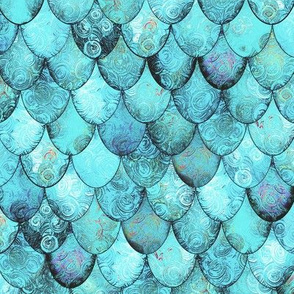 Light Teal Mermaid or Dragon Scales by Su_G