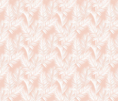 palm leaves - white on blush, small. silhuettes tropical forest white blush light pink hot summer palm plant tree leaves fabric wallpaper giftwrap fabric by mirabelleprint on Spoonflower - custom fabric