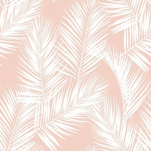 palm leaves - white on blush, small. silhuettes tropical forest white blush light pink hot summer palm plant tree leaves fabric wallpaper giftwrap