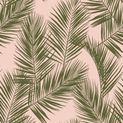 palm leaves - khaki on blush, small. silhuettes tropical forest khaki blush light pink hot summer palm plant tree leaves fabric wallpaper giftwrap