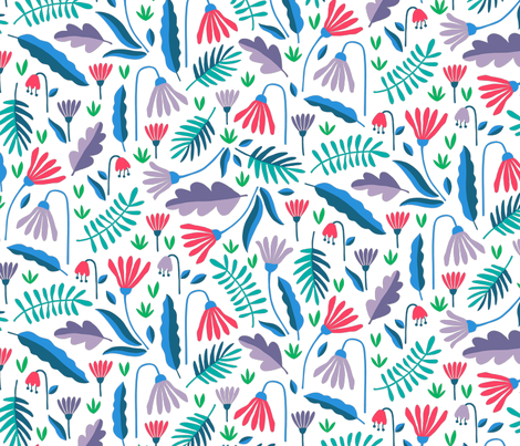 Paper cut spring flowers in purple and blue fabric by heleen_vd_thillart on Spoonflower - custom fabric