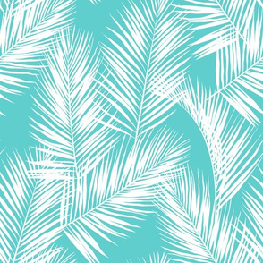 palm leaves - white on turquoise, small. silhuettes tropical forest turquoise light blue white hot summer palm plant tree leaves fabric wallpaper giftwrap