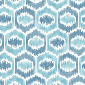 Watercolor Ikat Hex - Mint / Teal