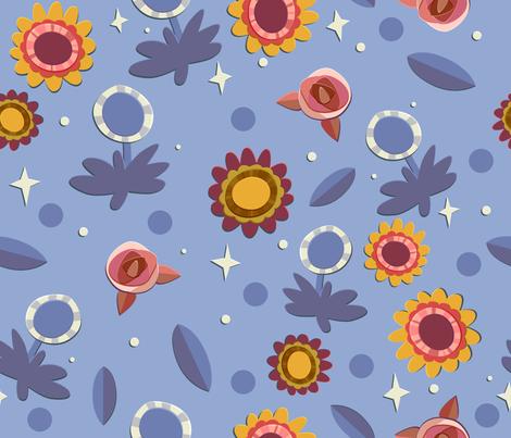 Cornflower Blue Floral fabric by hollybender on Spoonflower - custom fabric