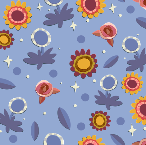 Cornflower Blue Floral fabric by hollybender on Spoonflower - custom fabric