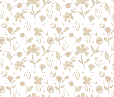 Coffee Papercut Florals fabric by suzzincolour on Spoonflower - custom fabric