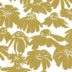 gold glitter coneflowers