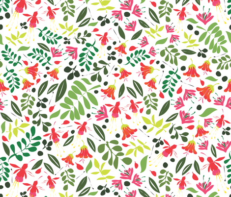 Matisse Garden green and red fabric by colour_angel_by_kv on Spoonflower - custom fabric