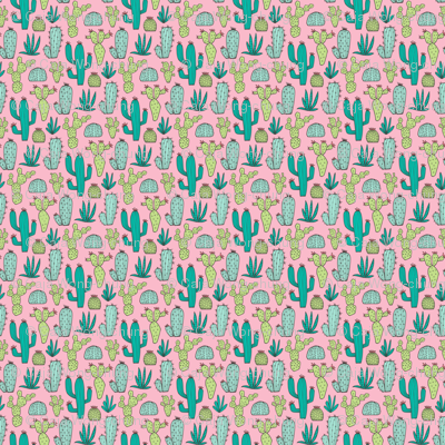 Cactus on Pink Tiny Small 1 inch and smaller