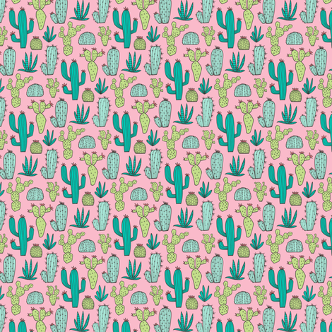 Cactus on Pink Tiny Small 1 inch and smaller fabric by caja_design on Spoonflower - custom fabric
