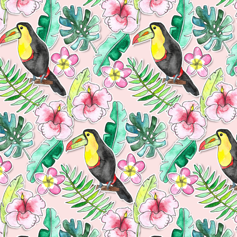 Tropical Toucan Paper-Cut Floral fabric by tangerine-tane on Spoonflower - custom fabric