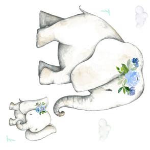"54""x36"" Floral Blue Elephant"