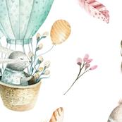 Watercolor bunny and bird 1